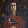 Козьмина Л. «Автопортрет с сорокой в тени гранатового дерева»